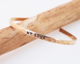 Bronze Anniversary Bracelet, Hammered Bronze Cuff, MY LOVE Bracelet,Personalized Cuff, 8 Year Anniversary Gift