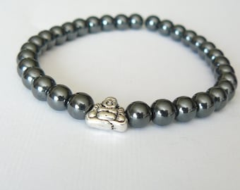 "Buddha Hematite 6mm Beads ""Stone For The Mind"" Bracelet"