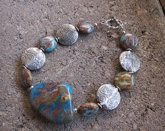 Rainbow Jasper and Sterling Silver Bracelet