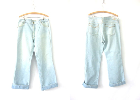 1970s Brittania Jeans Boho Hippie Vintage Faded Jeans Distressed Pants Men's Trouser Jeans size 38 x 32
