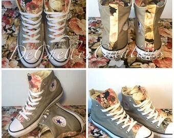 Custom made flower converse // floral converse // custom converse