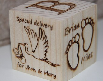 Baby Cube Personalized Cube Home Cube Gift for Baby New Baby Cube Gift Laser engraving Cube