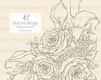 Digital Stamp Instant Download - Calla Lily and Rose - Sympathy or Wedding Bouquet - Floral Line Art for Cards & Crafts by Mitzi Sato-Wiuff