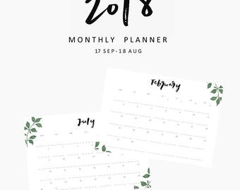2018 Monthly Calendars, printable calendars, printable planner, hand lettering,printables, instant download, planner, student, productivity