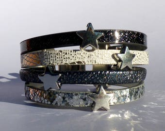 20 mm sparkly and glittery leather Cuff Bracelet silver/white/gray/blue - stars
