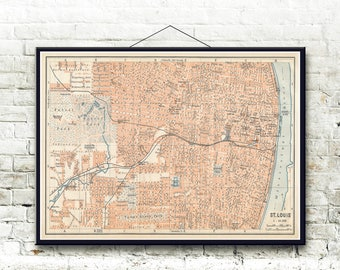 St Louis Missouri 1909 Map Fine Art Print
