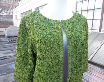 Vtg 50's 60's Green Ribbon Floral Formal Bolero Cape Jacket Open FrontCropped Sleeves Medium 1950's 1960's