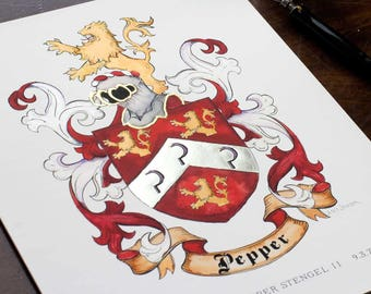 "Custom Art Print - 8"" x 10"" Custom Family Crest- Original Coat of Arms Gold Leafed Art print  - Custom Heraldry Art file and print"