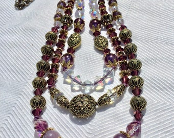 Antique Brass and Crystal Necklace with Amethyst