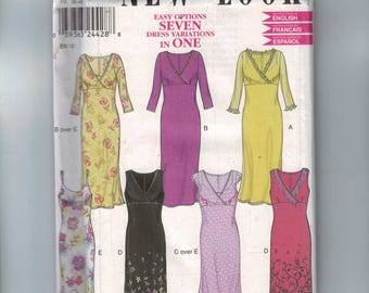 Misses Sewing Pattern New Look 6040 Easy High Waist V Neck Slim Dress Size 8 10 12 14 16 18 Bust 34 36 38 40 42 44 UNCUT