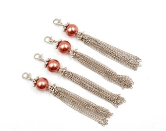 4 Antique Silver Metal Tassels With Glass Pearl Bead Charm/Pendants - 22-36-12
