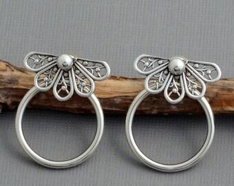 Sterling silver ear jacket earrings double sided earring filigree butterfly post stud front back earrings silver hoops nature jewelry edgy