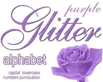 Digital Purple Glitter Alphabet, Digital Lettering, Glitz Printable Lettering, Digital Download, #46