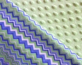Baby Car Seat Canopy COVER or NURSING Cover: Blue and Green Chevrons with Light Green Minky, Personalization Available
