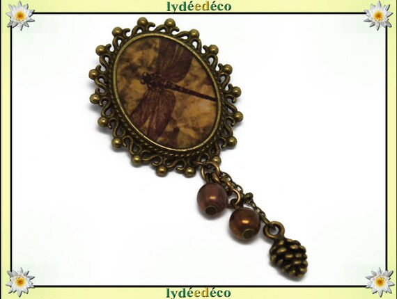 Retro pin resin Dragonfly sepia Brown brass bronze Oval Pendant 18 x 25mm charm beads pinecone