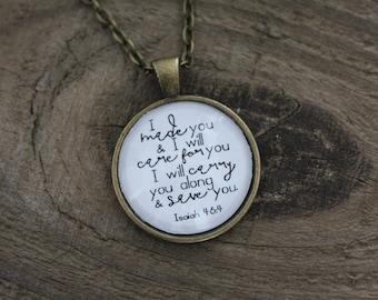 """Antique Bronze """"Isaiah 46:4"""" Pendant Necklace"""