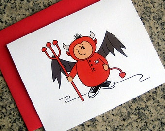little devil feeling naughty notecards / thank you notes / love notes / valentines (blank or custom inside) with red envelopes - set of 10