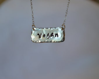 "Sterling Silver ""Vegan"" Necklace Recycled Sterling Silver Hand Hammered Eco Friendly Statement"