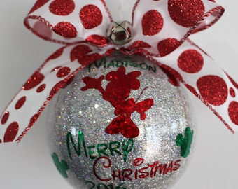Personalized Minnie Mouse Ornament personalized with Name  4'' Acrylic made with Glitter Vinyl decals