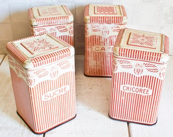 RARE Set of 4 Gorgeous French Storage Boxes || Red Stripes and Flowers Lithographed Decorative Tin - Retro Kitchen Metal Canister