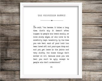 The Velveteen Rabbit Book Page Print - Digital Printable