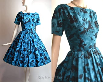 "1950's Vintage Blue and Black Cotton Full Skirt Low Back Floral Print Dress 24.5"" Waist XSmall"