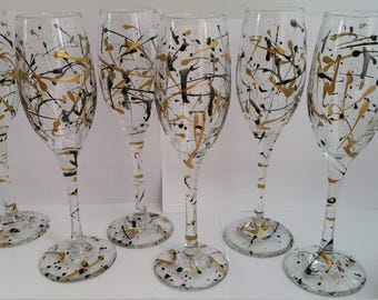 Gold and Black Elegant Splash Champaign glass set party accessories gifts celebration hand painted colorful