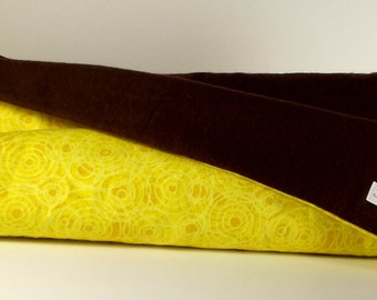 Yellow Swirl and Chocolate Brown Flannel Baby Blanket, Xtra Large