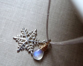 Snowflake Necklace, Rainbow Moonstone Gemstone Necklace, Sterling Silver, Mixed Metal Necklace, Winter Jewelry, Christmas Gift, Gift for Her