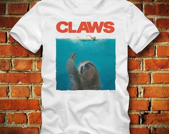 BOARDRIPPAZ T SHIRT Sloth Shirt Claws Jaws Movie Poster Great White Shark Faultier Animal Shirt Fun shirt Sloth Shirt Claws Shirt Attack