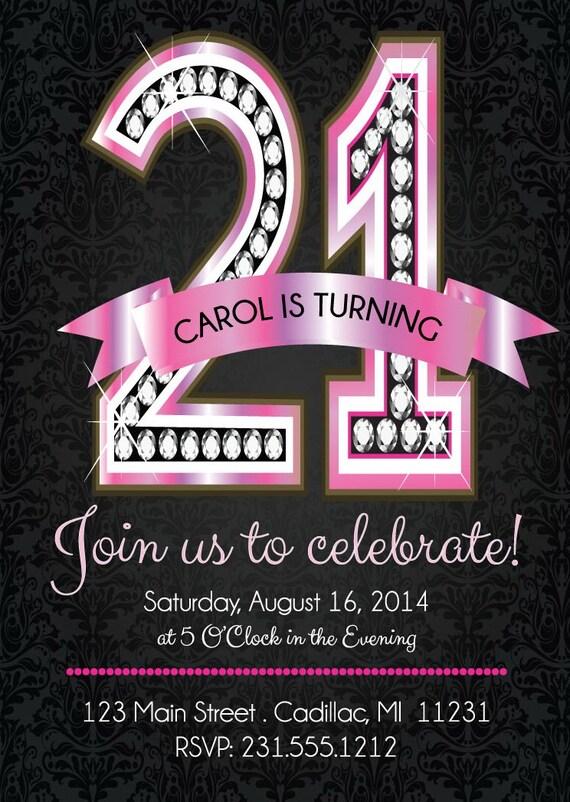 21st Birthday Invitations Pink Diamond 21st Birthday