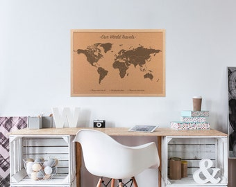World map cork board etsy gumiabroncs Image collections