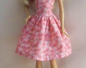 Handmade Barbie Doll Clothes-Pink Cotton Floral Barbie Dress