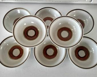Vintage Stoneware Bowls Dinnerware Dish Set Japan Retro Mid Century Bohemian Eclectic Home Decor Design Boho Style Brown Orange Circles