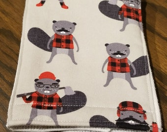 Burp Cloth - Lumberjack Beavers with a Gray Background on a White Cloth Diaper