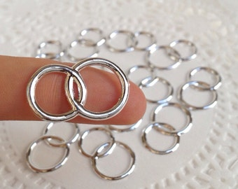 48 Plastic Joined Silver-tone Wedding Rings for Cupcake Toppers, Favor Accents, Scrapbook, Invitations