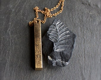 Feather Bar Pendant Necklace - Etched Gold Brass, Dark Oxidized Patina, Metalwork Boho Jewellery