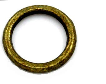set of 10 round ringed bronze 8 mm