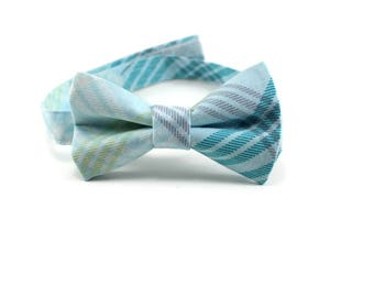 Lime and Turquoise bow tie for boys, babies, toddlers, mens, and youth. Light blue plaid bow tie. Ring bearer bow tie. Easter outfit