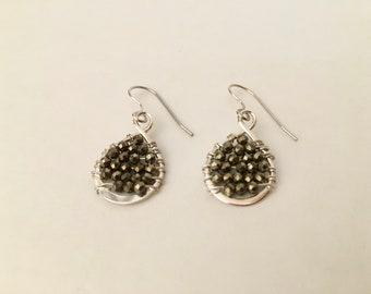 Pyrite gemstone silver dainty hoop earrings