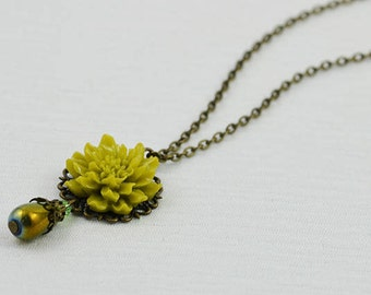 Olive Green Necklace, Emerald Lotus Flower Necklace, Bronze Necklace Bronze Jewellery, Bridesmaids Necklace, Everyday Teardrop long Necklace