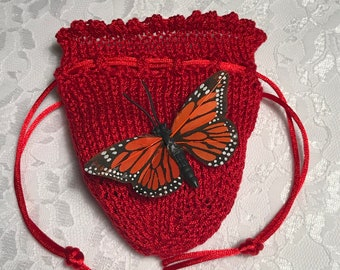 Delicate Butterfly Pouch, Butterfly, Any Occasion, Bridesmaid's Accessory, Quinceañera Accessory, Wedding Party, Orange and Black, (Medium)