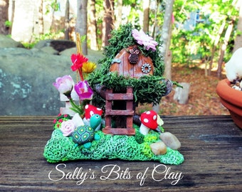Fairy Tree House whimsical unique & mystical READY TO SHIP hand sculpted original one of a kind sculpture by Sally's Bits of Clay