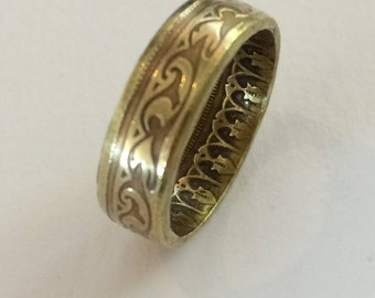 Coin Ring Brass with Ornate Design