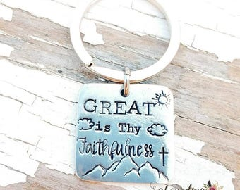 Hand stamped keychain, great is thy faithfulness, pewter keychain, custom keychain, gift for him, gift for her personalized, hymn, verse