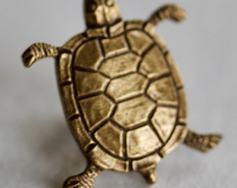 Realistic Metal Turtle Button
