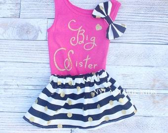 Big Sister outfit, big sibling announcement, big sister announcement, big sis shirt, black and gold