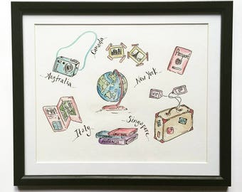 Travel Themed Watercolour Original - Personalised FREE with your destinations or quotes