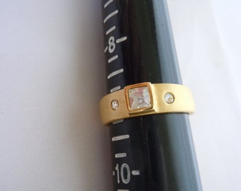 Vintage 14k G.E. ESPO Joe Esposito Promise ring Engagement Ring Gold Electrolyte brushed Gold band with Crystals Cocktail Ring size 9