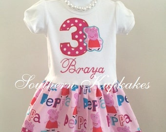 Peppa Pig Dress Pink Custom Girls 2pc With Hair Bow Birthday Boutique Pageant Infant Toddler Girls New NickJr Casual Wear 1st 2nd 3rd 4th